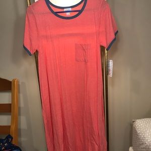 XS Coral Lularoe Carly Dress with Blue Accents NWT